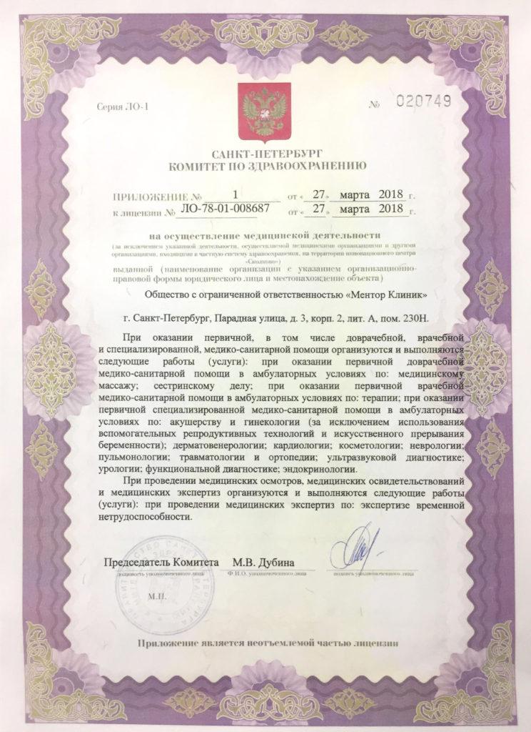Лицензия Mentor Clinic Спб